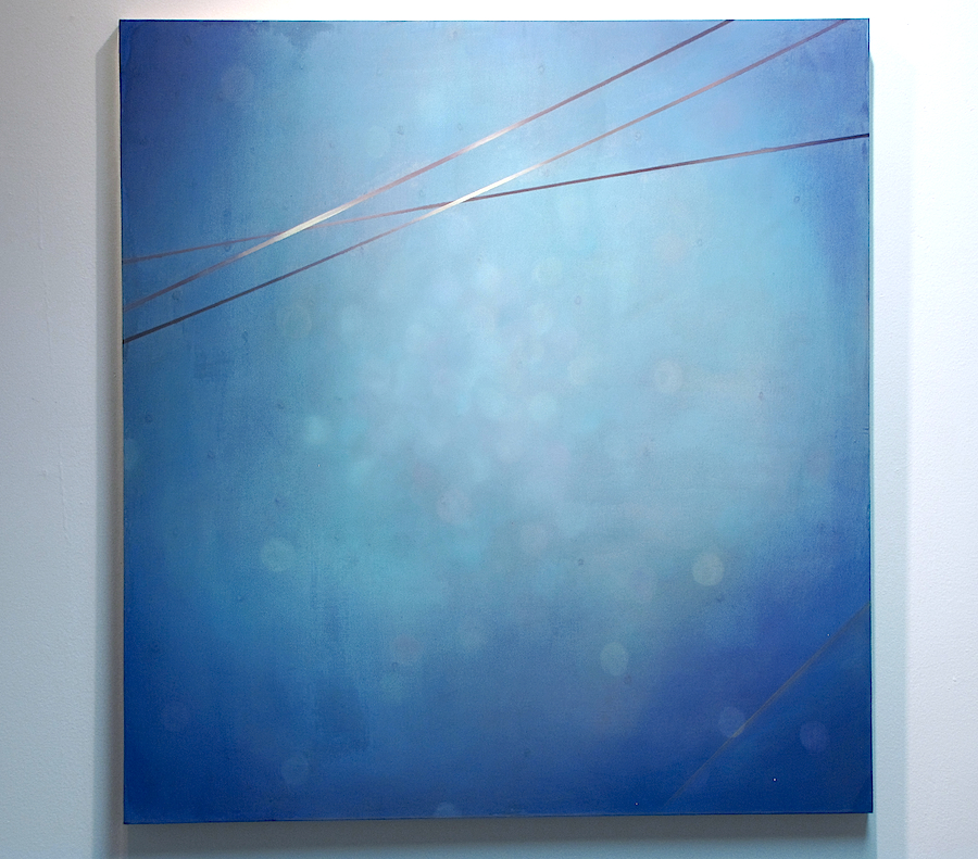 "Composition in Blue #2   32"" x 30"", 2011  Water soluble oil and acrylic on polyester mesh covered panel"