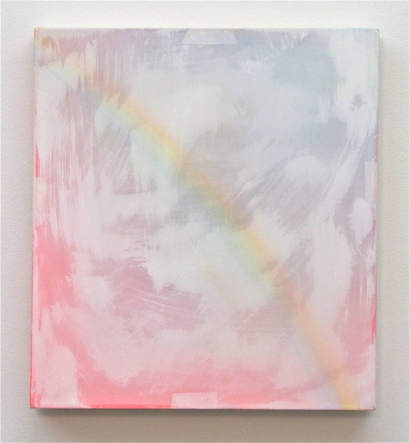 "Rainbow   10"" x 9"", 2013  Oil, acrylic, and gouache on paper and polyester mesh"