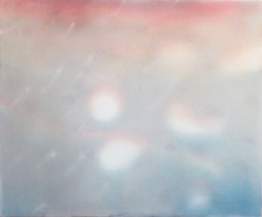 "Rain(bow)   19""x 23"", 2016  Oil, acrylic, and gouache on paper and polyester mesh"