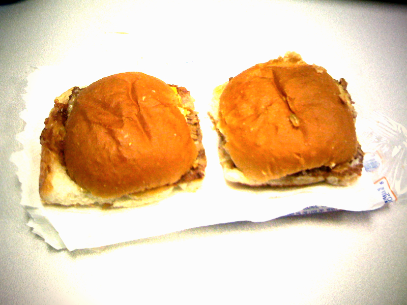 "Armed with a few expendable dollars on a BYU meal card, and a strange curiosity, I've decided to purchase the most disgusting looking food from the vending machines on campus to see if any of it should qualify as edible.   First up: White Castle's microwaveable mini cheeseburgers.   These things taste as bad as they smell - no, worse - once cooked. A comfortable 300 calories (total) doesn't worry me, but the fact that they contain one quarter of your daily intake of Fat (mostly saturated) AND sodium sure does.   My goal is to actually eat this stuff, but I had to pass on the second sandwich. My coworker Ray gladly accepted the donation... until he bit into it.   I can't comprehend how the package actually has the word 'food' on it, especially since it's not preceded by ""Warning: This isn't"". After reading through the 6 lines of ingredients - just for the buns! - I think it's safe to say that this crap has been processed more than a Swimsuit Edition photoshoot.   CONCLUSION: If students are actually eating this, they won't have to look much further than the cardiac surgeon to decide where to spend their retirement fund.   (Sent from my iPhone)"