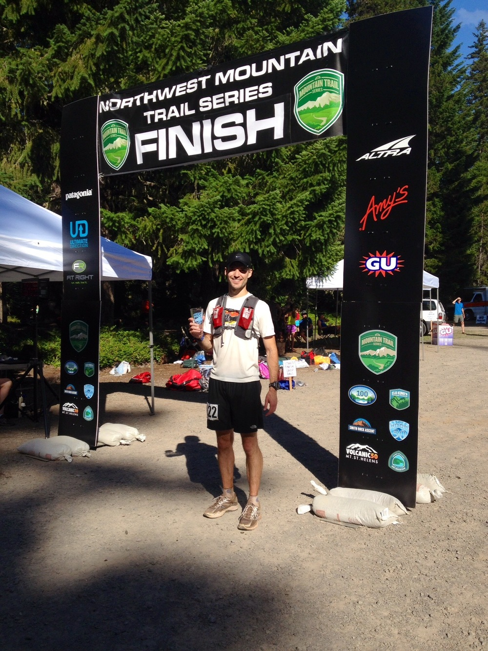 Dr. Cashion at the finish line of the Mt. Hood 50 mile ultra-marathon.