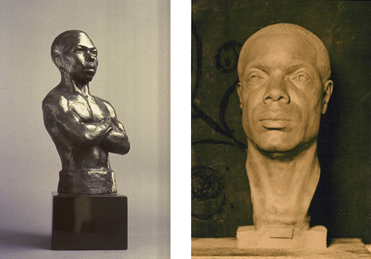 The Pugilist,  left.  Bust of Dr. Williams Pickens, Sr.  (1932-33), right.