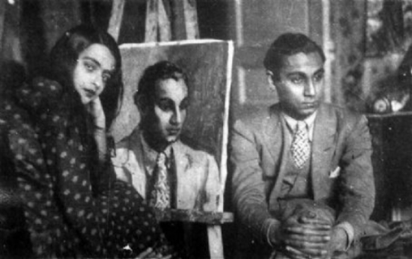 Amrita Sher-gil and model in her studio.