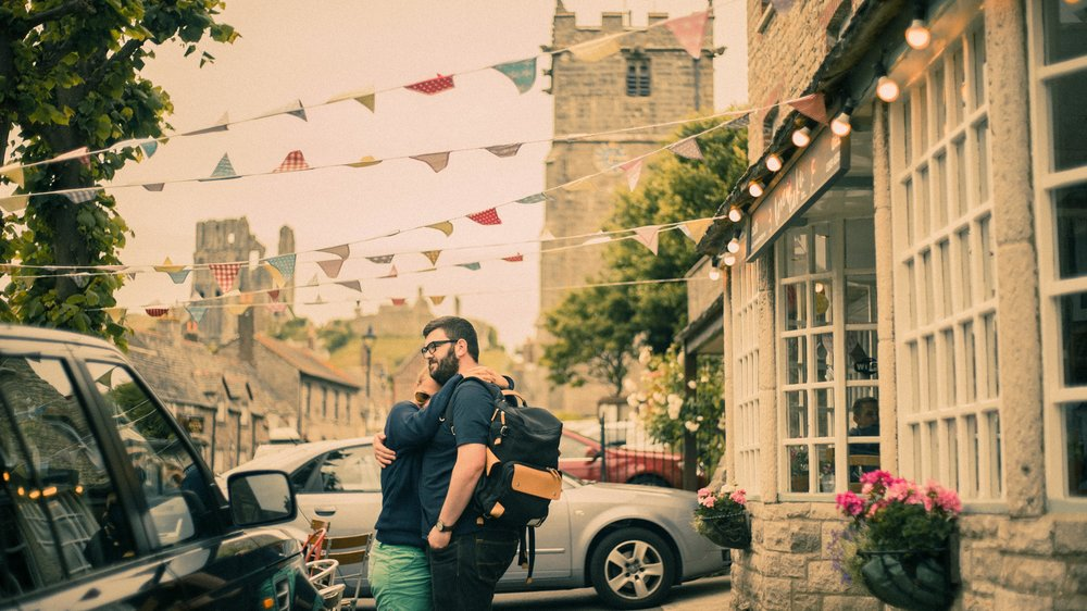 couple hug in village Dorset