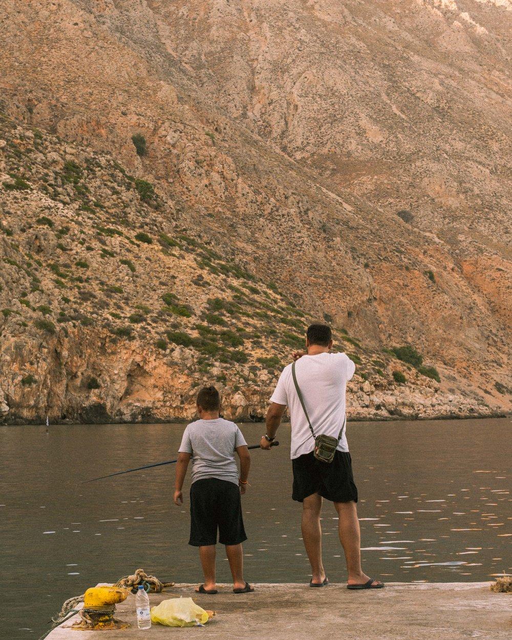 Father and son in Loutro, Crete