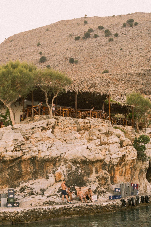 A restaurant in Loutro, Crete