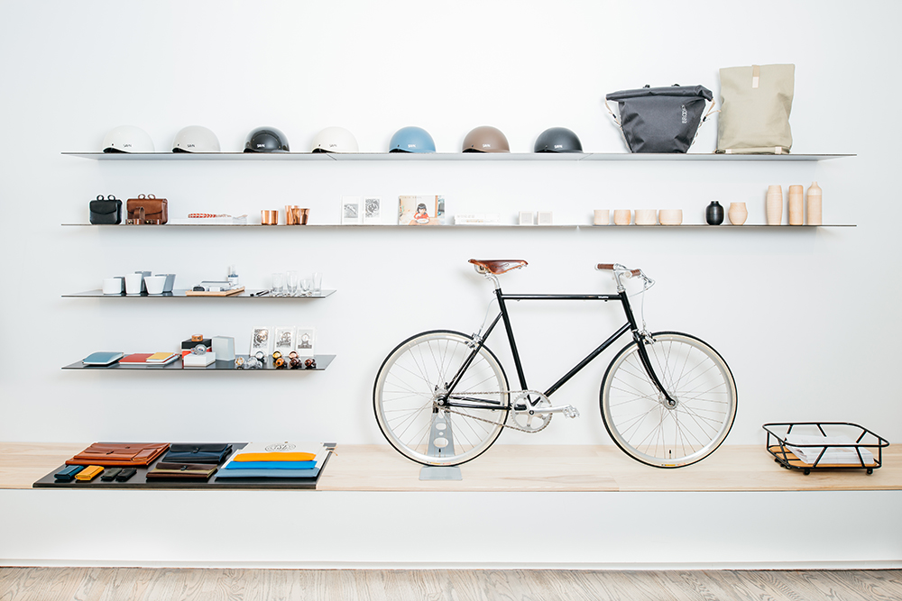 Tokyobike NYC has set a high bar in bike shop layout and merchandising, with beautiful displays like this one.