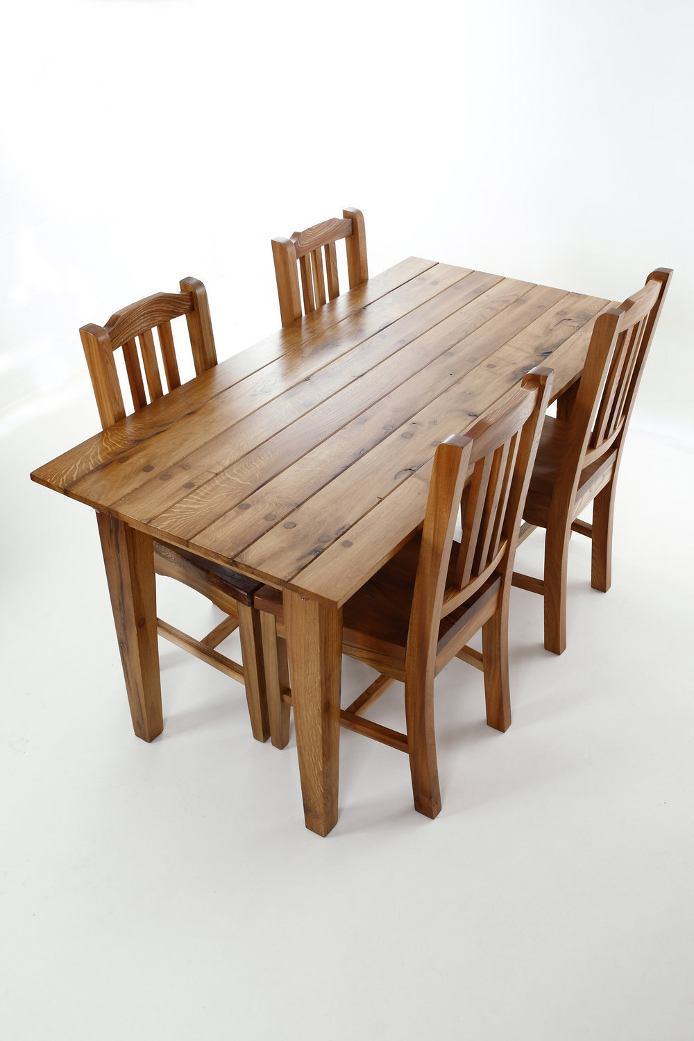 Reclaimed oak and elm dining set.