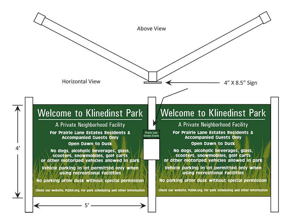 Exterior sign for Klinedinst Park, August 2013.
