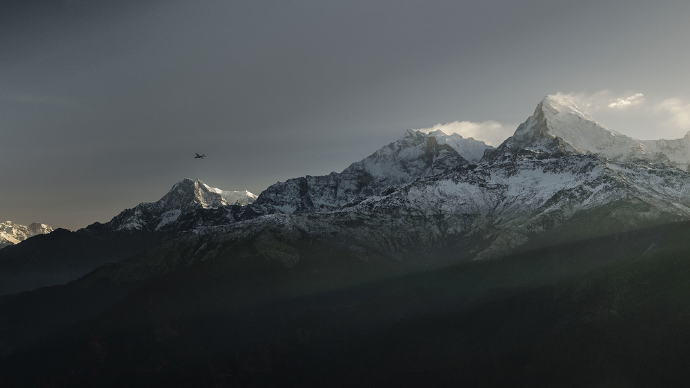 Sunrise from Poon Hill, allowing for epic vistas of Annapurna I (8091m), Machapuchare (6993m) and Dhaulagiri (8167m).
