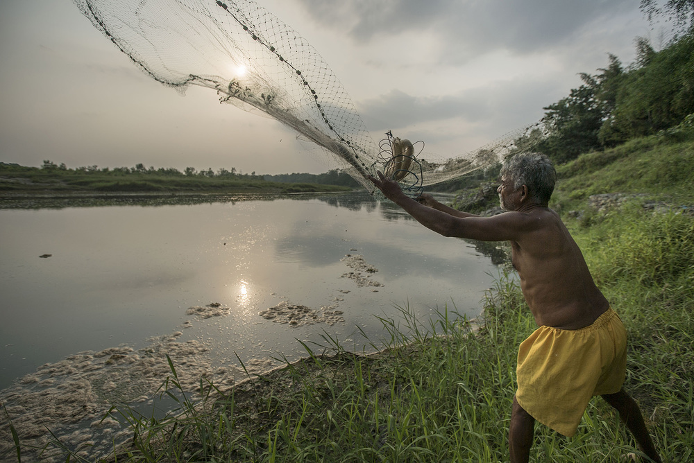 A fisherman casts his net into the Rapti river.  According to him, he was going after catfish.  Unfortunately because of thick weeds and vegetation, more time was spent untangling and cleaning out the nets than fishing.