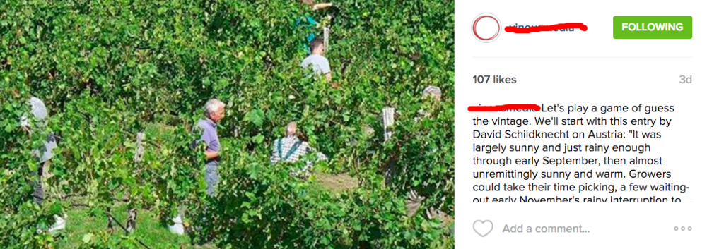 The Instagram-feed of one of the most respected wine publications in the world, one that I really admire.