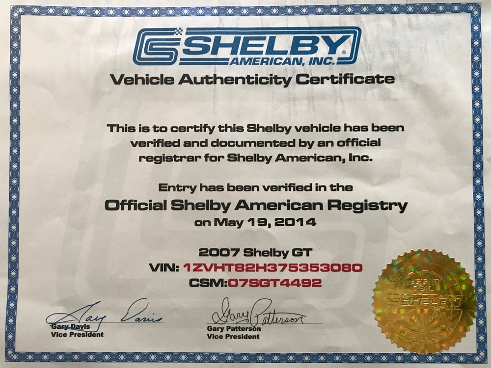 2007 Shelby GT CSM- 07SGT4492