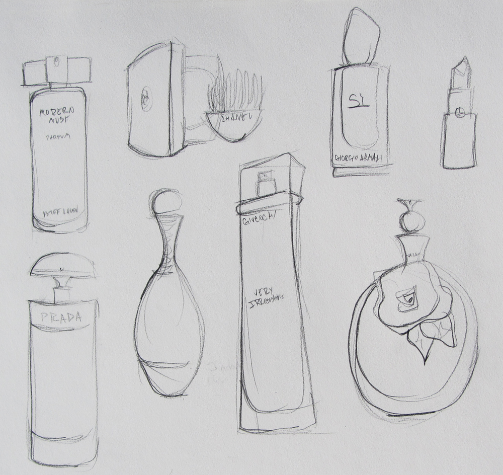 Whenever I'm in a drawing rut I tend to sketch perfume and a few other makeup essentials.