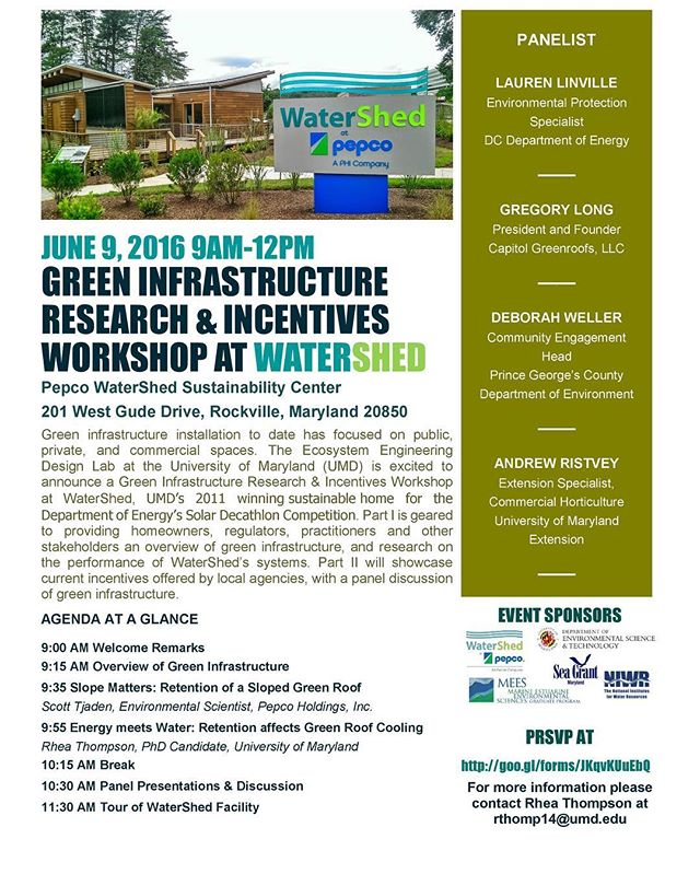 MEES Ph.D. Student, Rhea Thompson, is hosting a Green Infrastructure workshop at WaterShed, University of Maryland's winning sustainable home for the Department of Energy Solar Decathlon. Rhea is hosting this workshop in order to fulfill her Maryland Sea Grant Costal Resilience & Sustainability Fellowship.  The workshop is geared towards providing homeowners, regulators, practitioners, and other stakeholders an overview of green infrastructure, and showcase research and current incentives offered by local agencies for residential buildings. #MarylandSeaGrant
