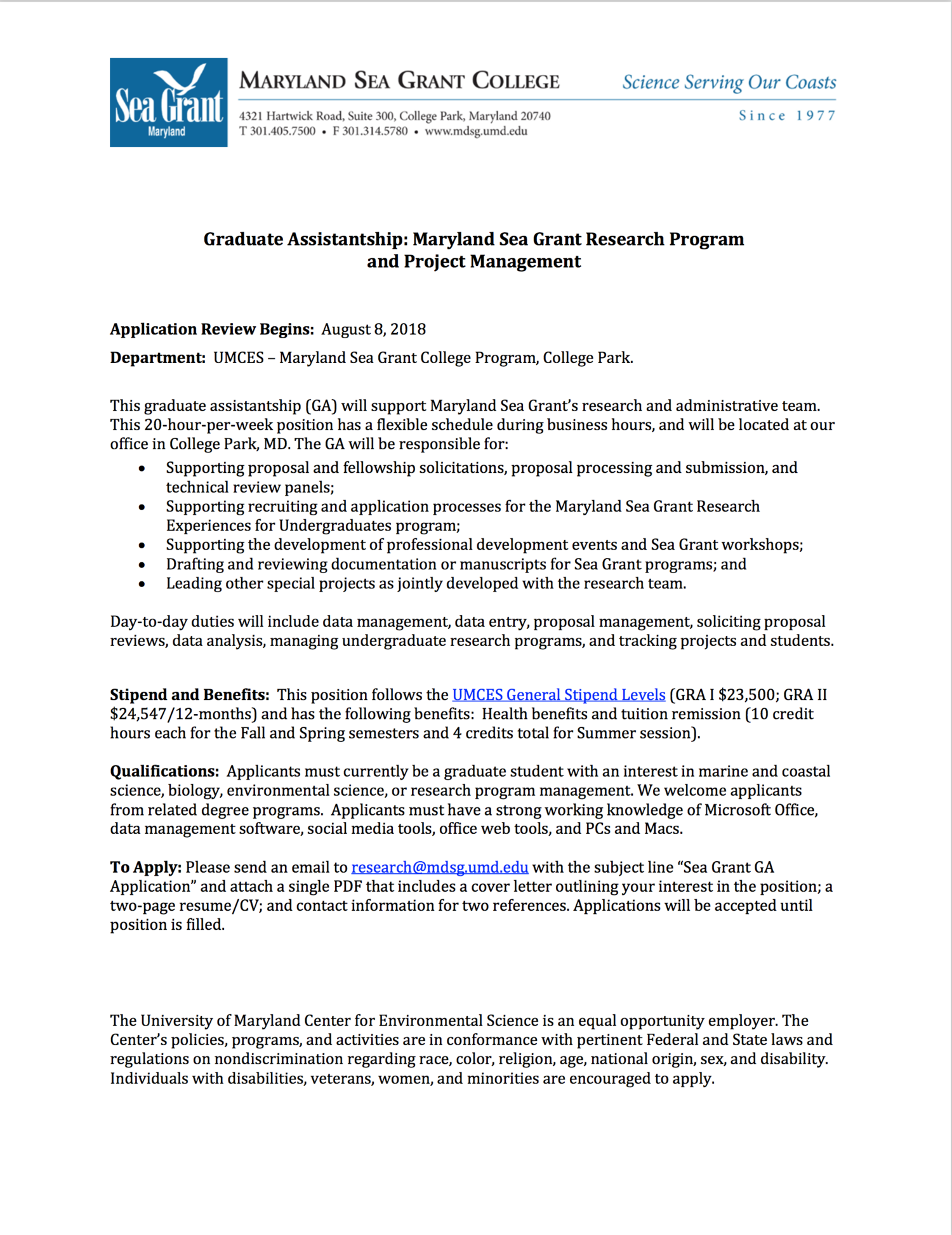Graduate Assistantship Maryland Sea Grant Research Program And