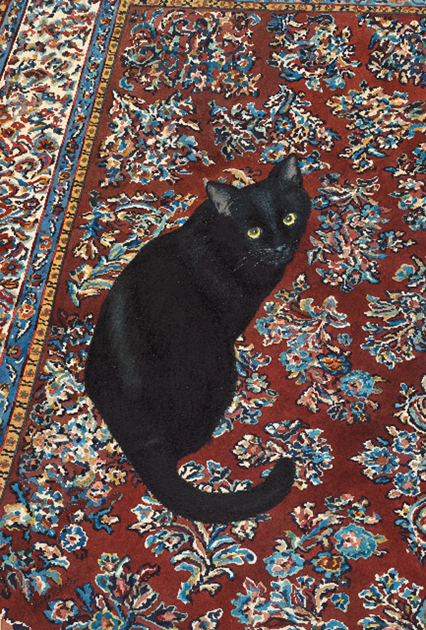 3,000.00   Watercolor painting of a black cat on a vintage Indian rug