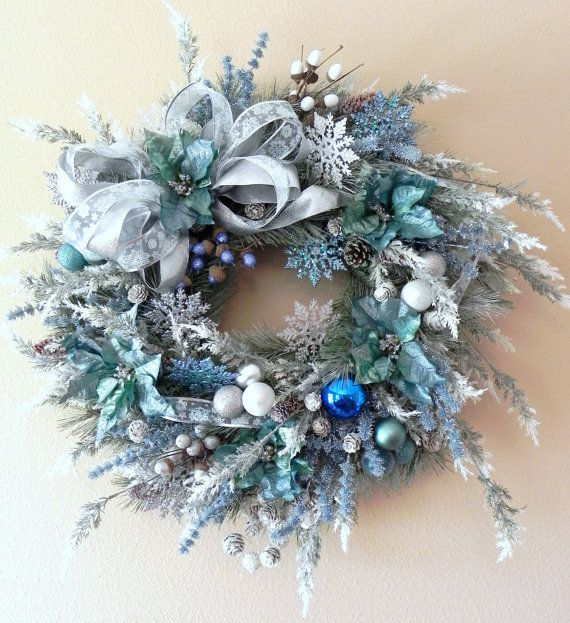 add a beautiful icy blue wreath to your door httpetsyme1ae2bs4 - Frosty Blue Christmas Decorations