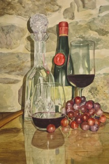 Vino Rojo Painting by Linda Roberts
