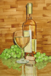 Vino Blanco painting by Linda Roberts