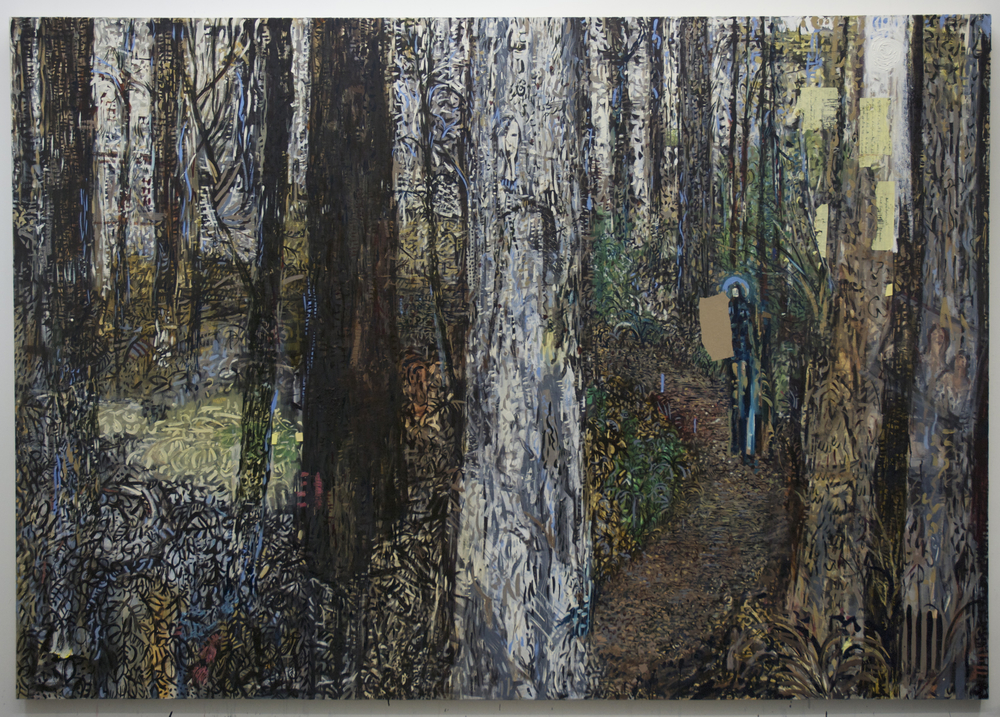 Charlie's Walk (5'th state) , oil and paper on canvas, 84x120 inches, 2014