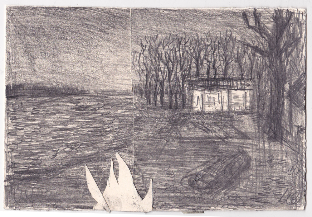 Beach Fire ,  graphite on paper, 5.75x8.5 inches, 2014