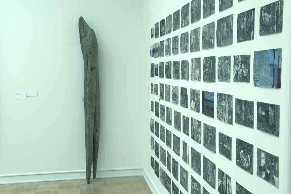 The Giant  (with memory drawings) at the Henry Art Gallery, Found Wood, 98x9.6x9 inches, 2014