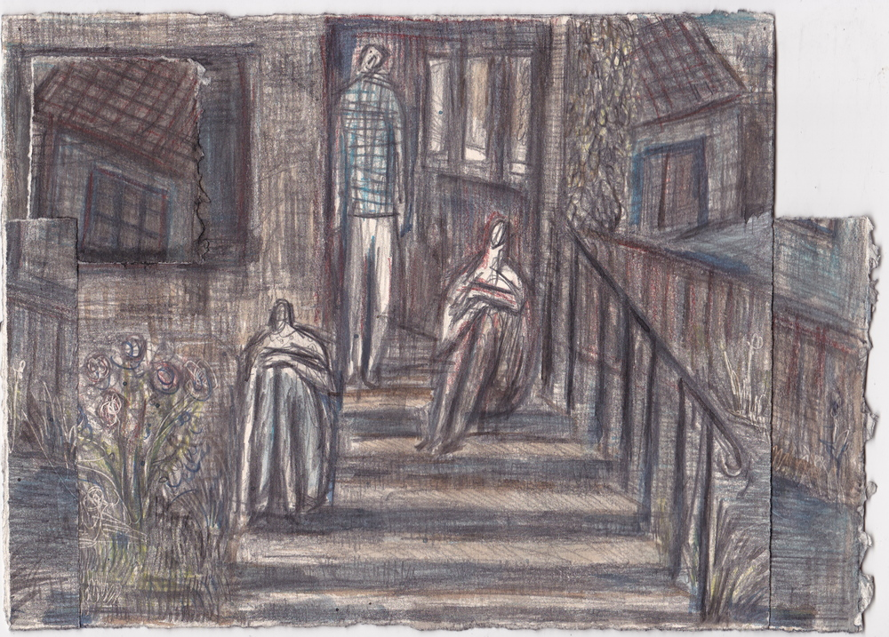 Hannah's Porch,   graphite and ink on paper, 7.25x10.25 inches, 2013