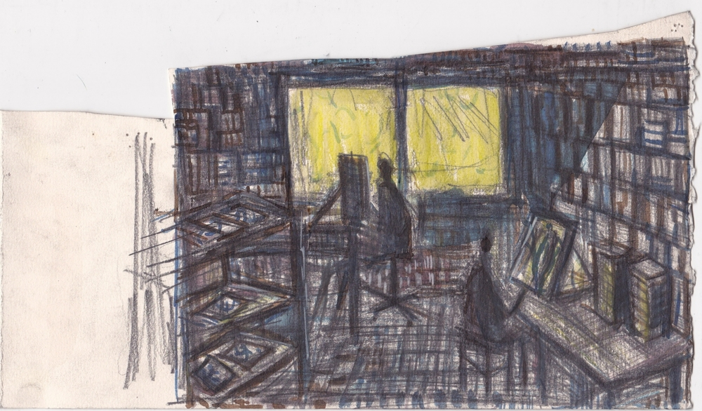 Cody's Studio  , graphite, ink and colored pencil on paper,   6.5x11.5 inches, 2013