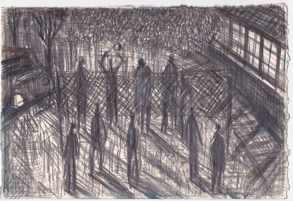 Night Volleyball at the CMA,   graphite, and ink on paper, 7.5x11 inches, 2013