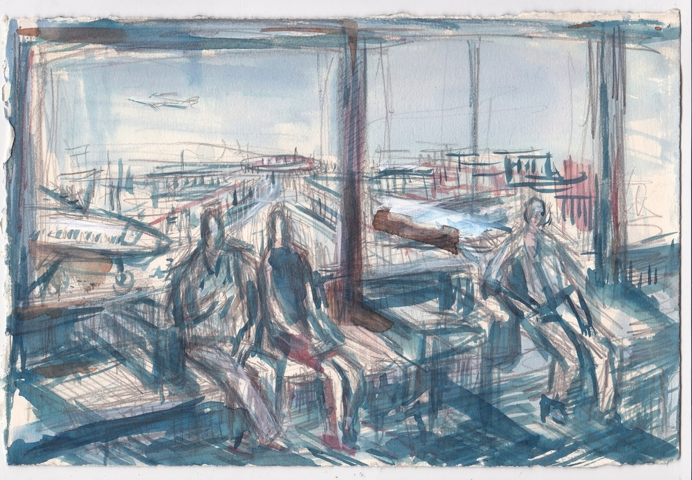 JFK Airport  , graphite, and ink on paper, 7.5x11 inches, 2013