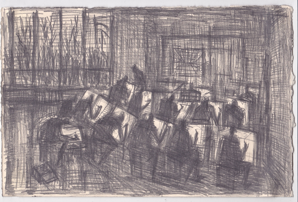 D Bro's Class  , graphite, and ink on paper, 7.5x11 inches, 2013