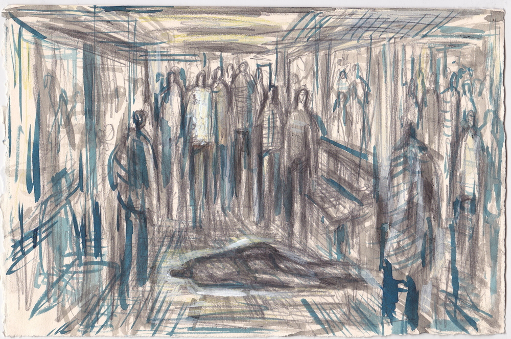 Untitled (NYC Subway) , graphite, colored pencil and ink on paper, 7.5x11 inches, 2013