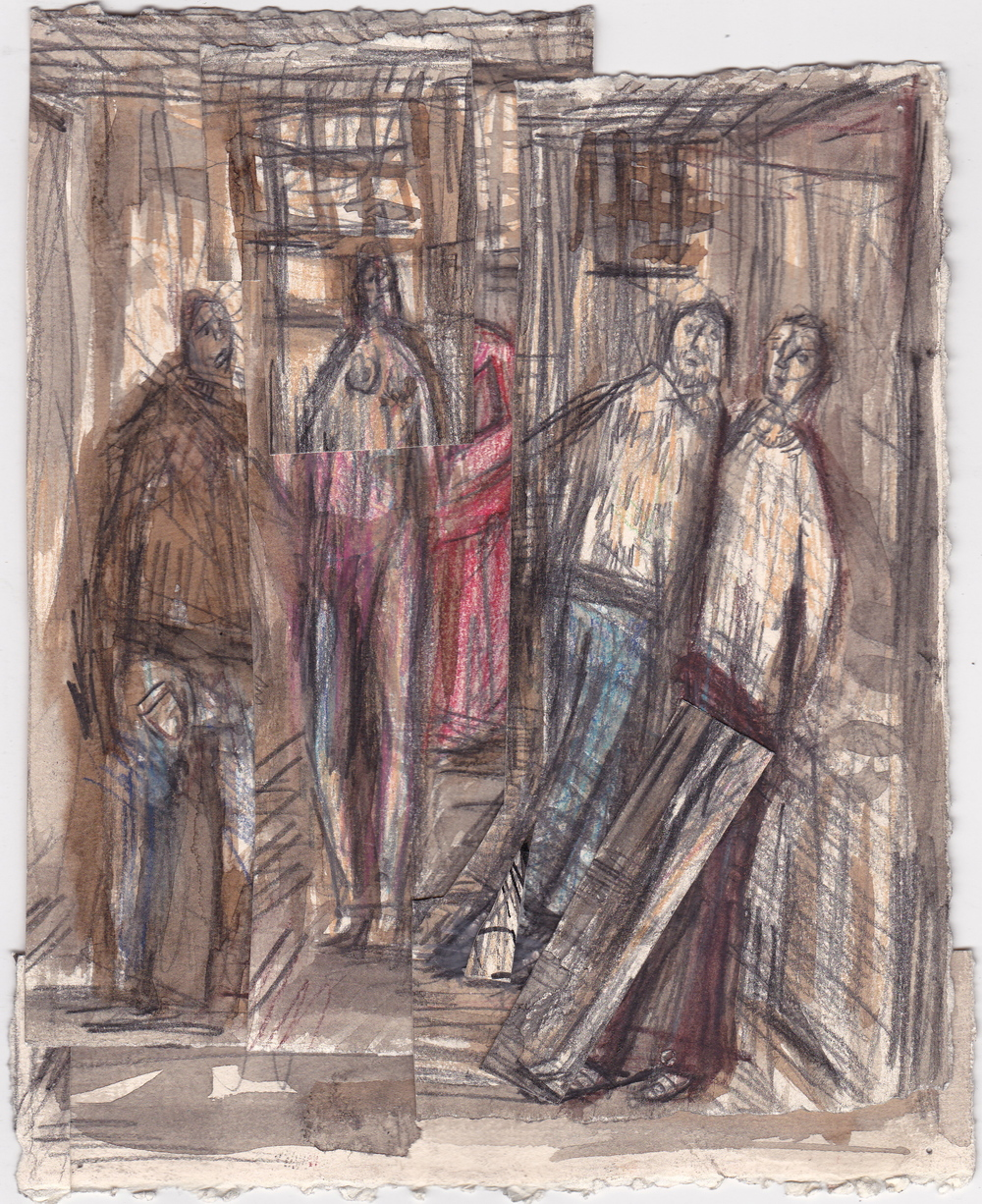 Sandpoint Hallway  , graphite, colored pencil and ink on paper, 7.5x11 inches, 2013