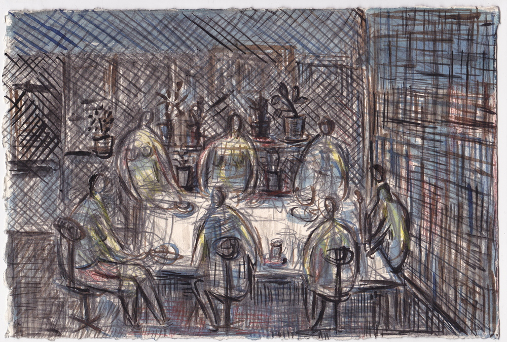 Lunch with Jonas  , graphite, colored pencil and ink on paper, 7.5x11 inches, 2013