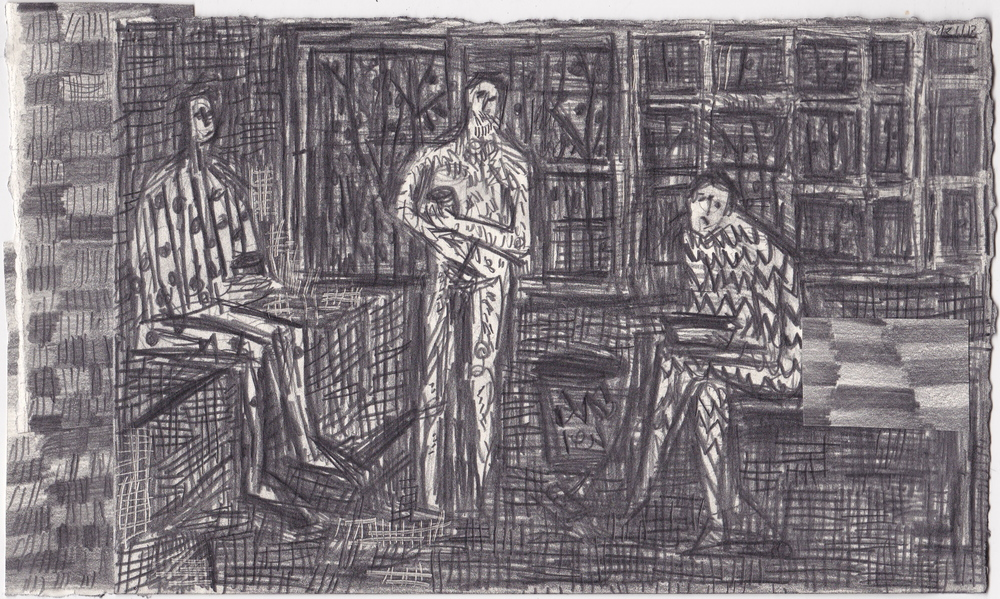 Sandpoint Lunchroom (Jon and Dave)  , graphite on paper, 6x10.25 inches, 2012