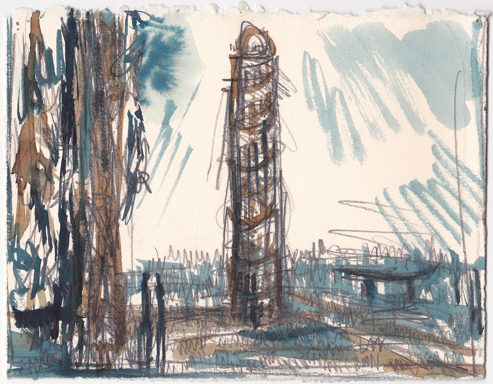 Astoria Tower  ,   graphite and ink on paper, 5.75x8.5 inches, 2014