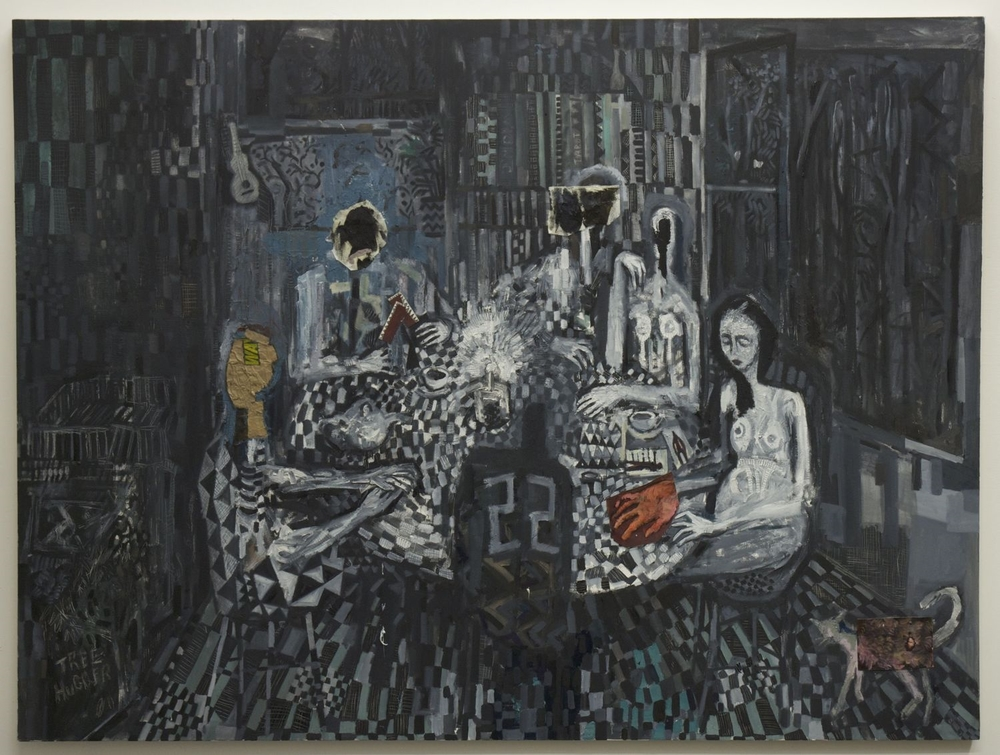 Tarot , oil and paper on canvas, 72x96 inches, 2012