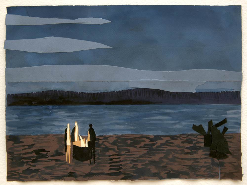 Beach Fire. Strangers , Ink on Cut Paper, 11x14.5 inches, 2014