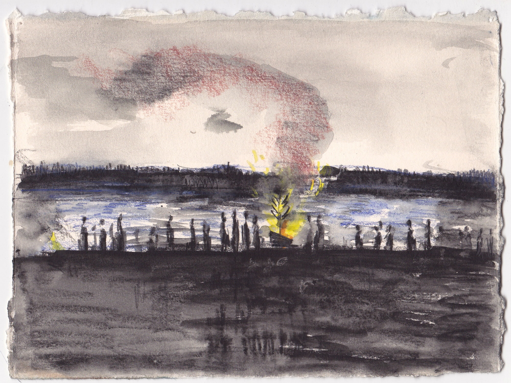 Christmas Tree Burning at Golden Gardens , graphite, colored pencil and ink on paper, 6.5x8 inches, 2015