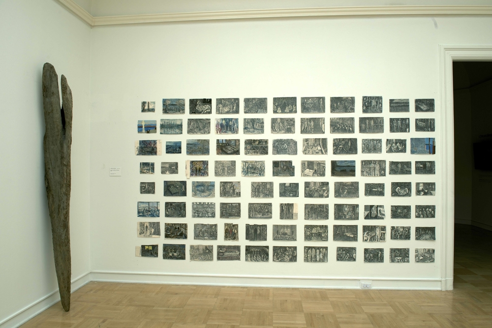 About Time (Memory Drawings) , Installation at the Henry Art Gallery, graphite, ink, colored pencil, and gouache on paper, 74x132 inches, 2014