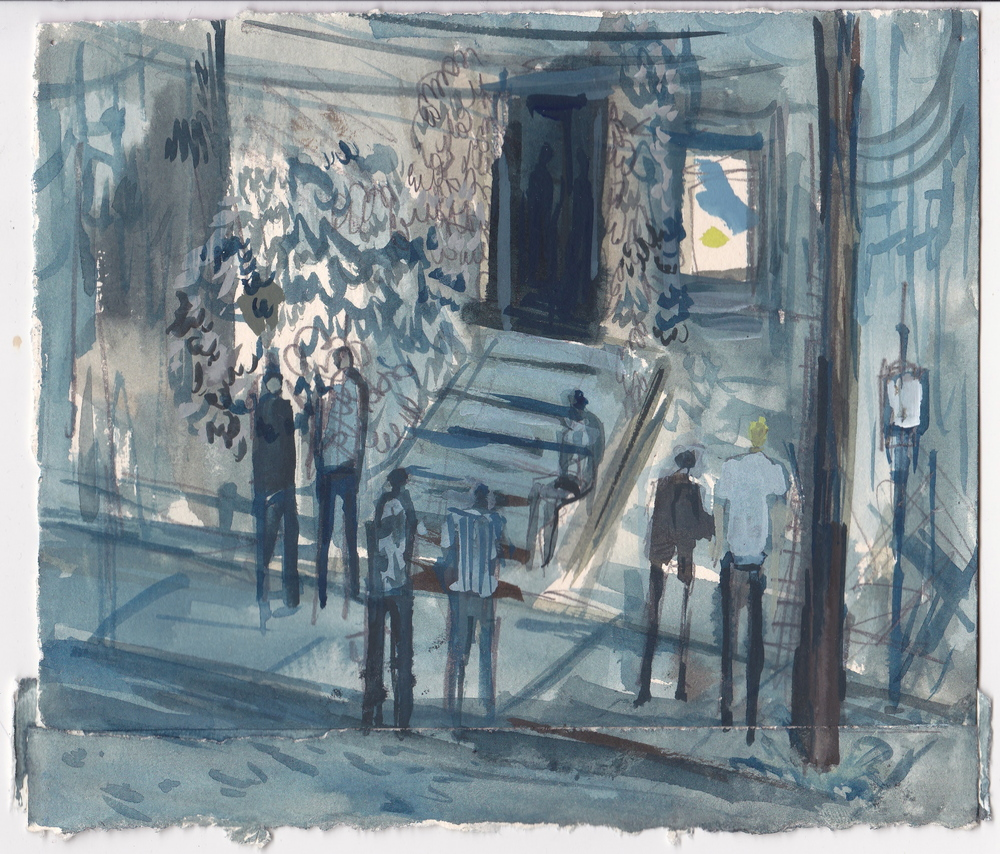 Tim's Porch,  graphite and gouache on paper, 6.5x7.5 inches, 2015