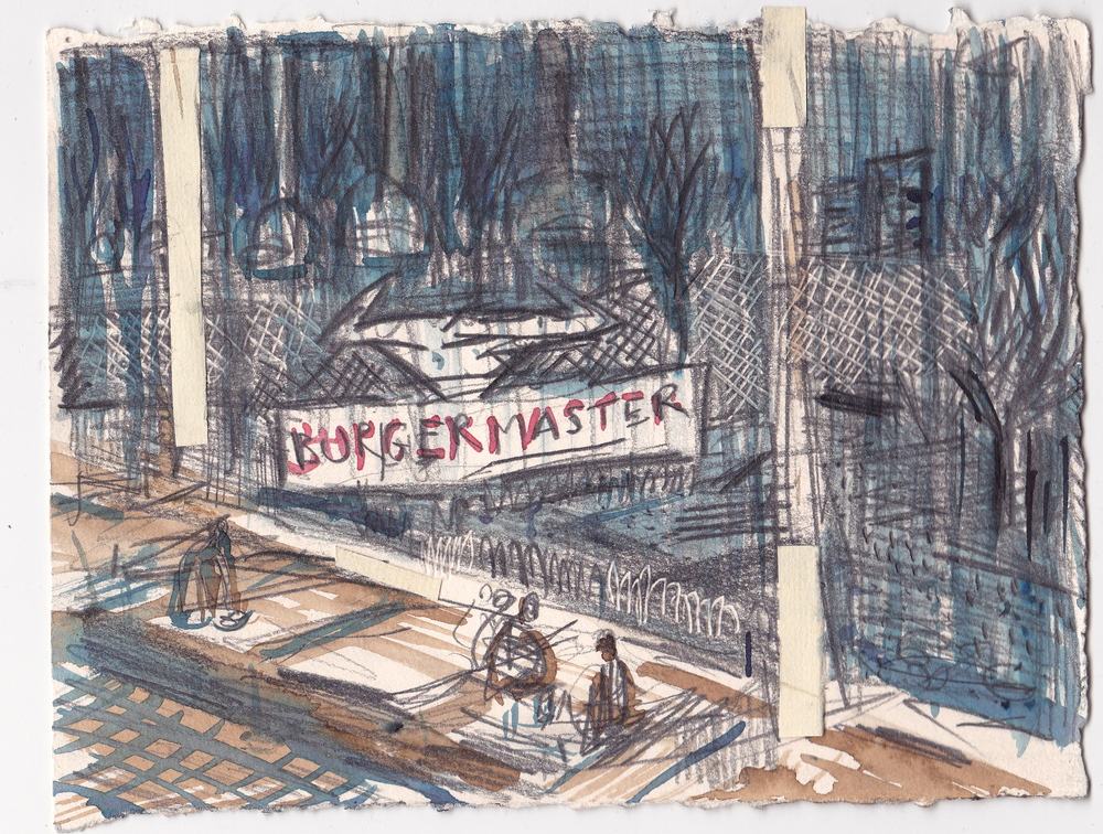 Burgermaster , graphite and ink on paper, 5.75x8.5 inches, 2014