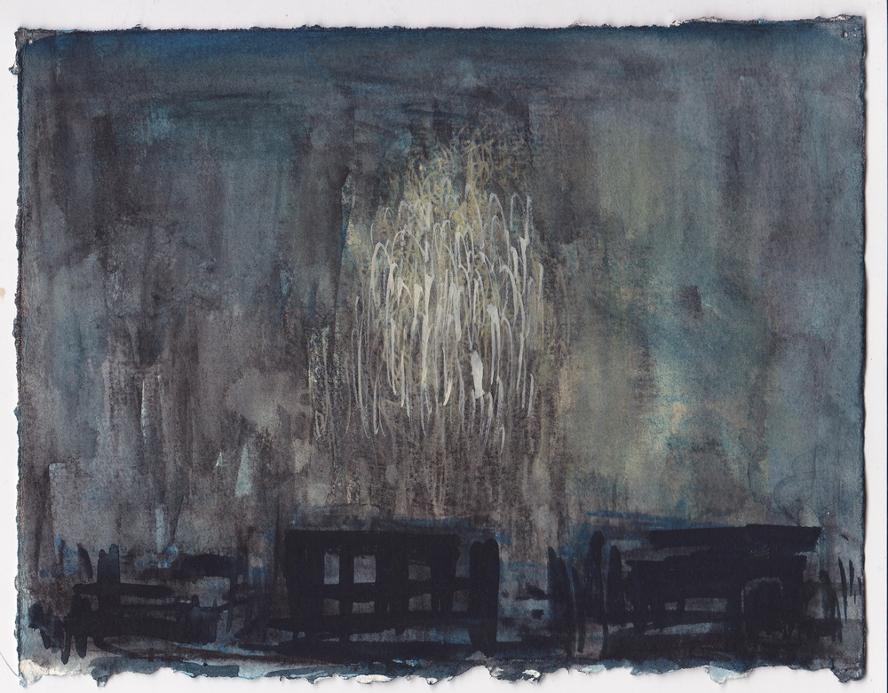 Fourth of July , gouache on paper, 5.75x7.5 inches, 2015