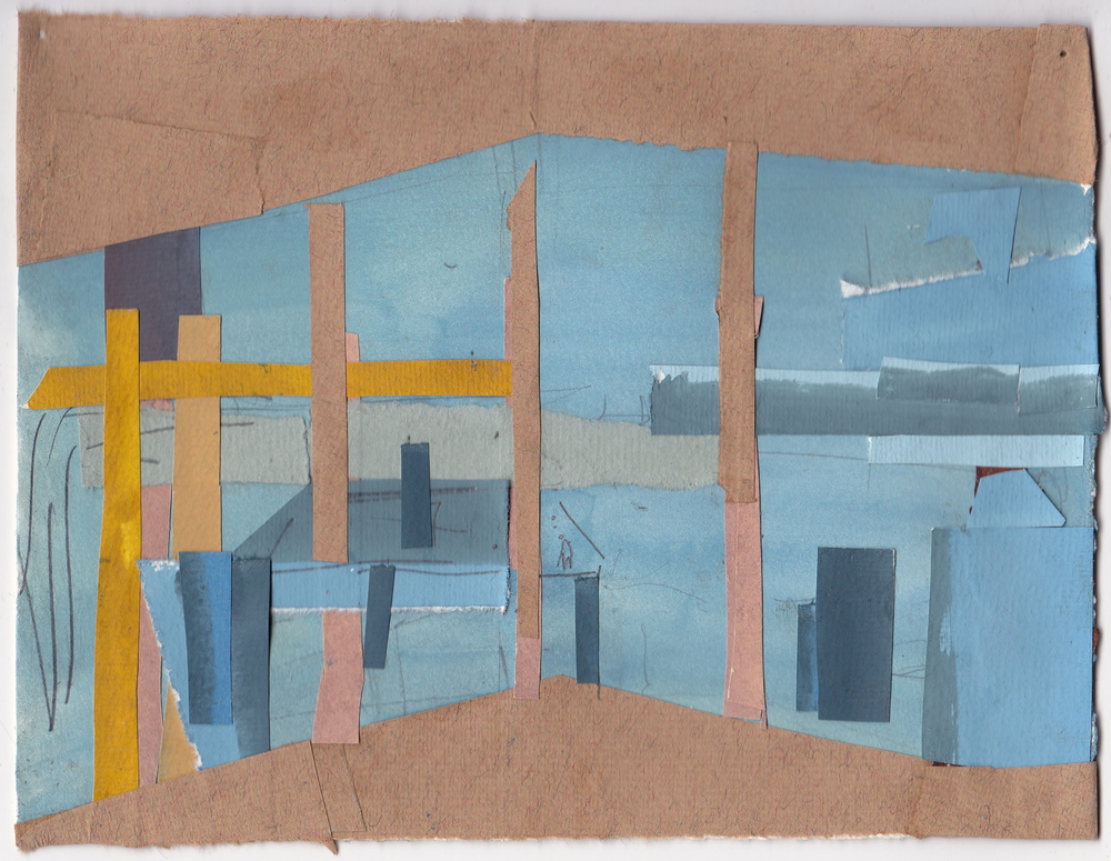 View from an apartment , gouache on paper, 5.75x7.5 inches, 2015