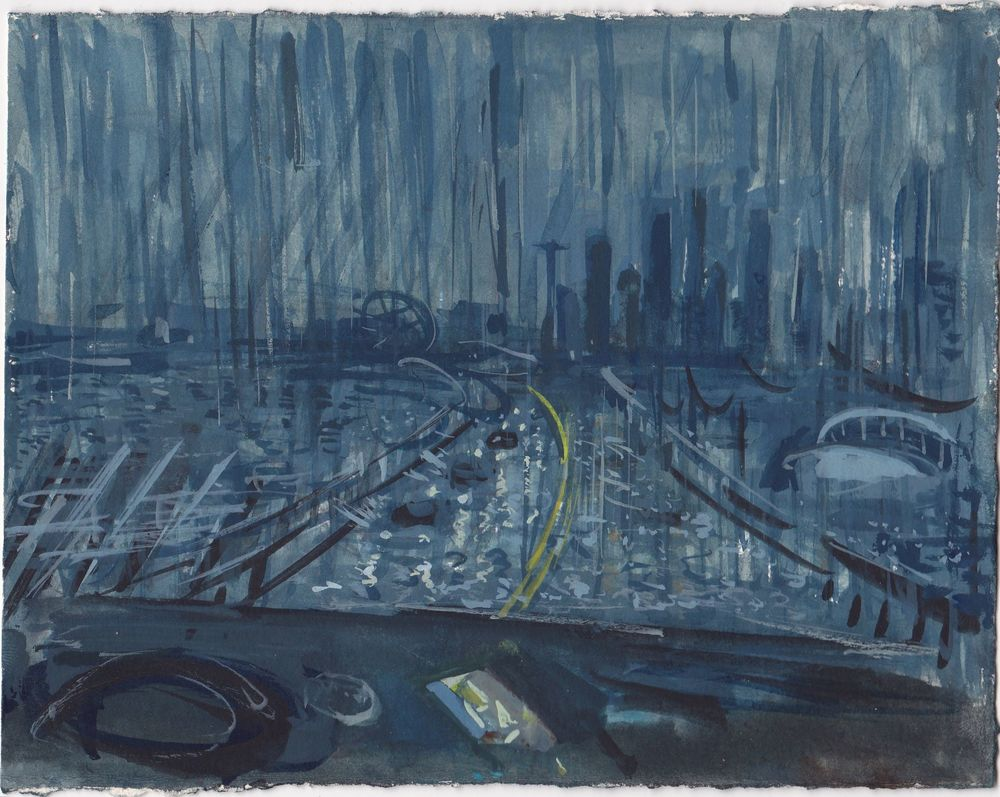 Thunderstorm on Highway 99 , gouache on paper, 5.75x7.5 inches, 2015