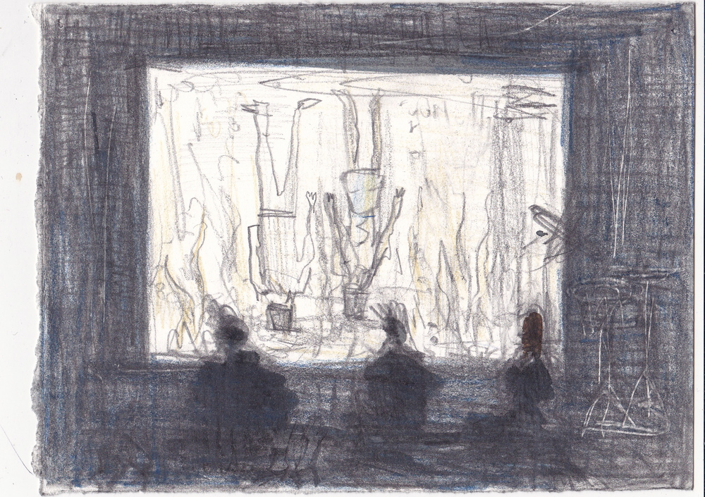Untitled (Movie Night),  graphite and ink on paper, 5.75x7.5, 2016