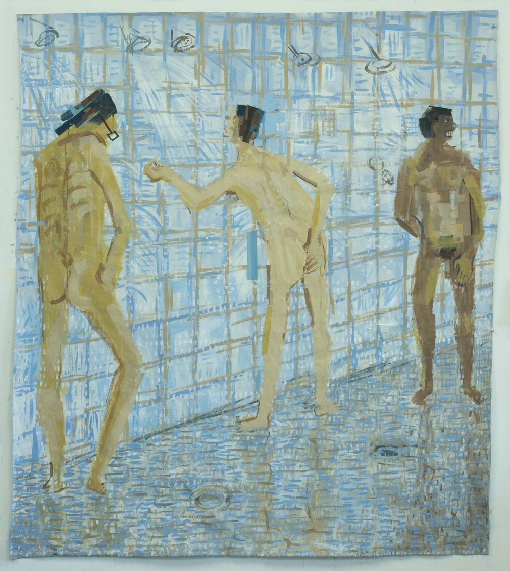 White Man , Acrylic, gouache and paper on linen, 72x63 inches, 2016