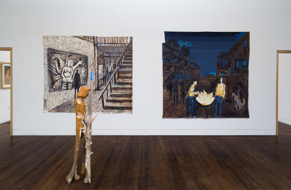 Provincetown Art Museum  Sculpture in foreground:  Hope Rack,  Carved wood, and found materials, 2016. Painting Left side:  Decide to Appreciate . Painting right side:  Untitled