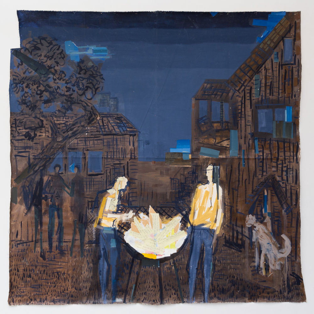 Untitled (Bitterlake bbq: Whiting's backyard)  acrylic, gouache and paper on linen, 87x81 inches, 2016